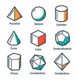 flat line isometric shapes light vector image