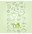 Hand drawn green tea doodle concept vector image