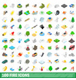 100 fire icons set isometric 3d style vector image