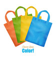 colorful canvas tote bags collection advertisement vector image