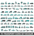 93 Transport icons set bicolor vector image