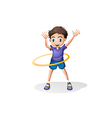 A young man playing with the hulahoop vector image vector image