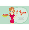 beautiful woman waitress enjoys pizza vector image vector image