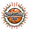Color vintage basketball emblem vector image