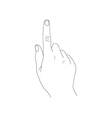 Hand with index finger on a white background vector image