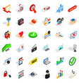 safety cyber icons set isometric style vector image