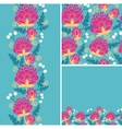 Set of colorful flowers seamless pattern and vector image