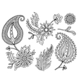 set of colorful paisley elements Indian vector image