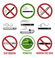 Sign of cigarette and no smoking sign vector image