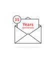 thin line 35 years anniversary logo like open vector image