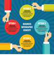 Human hands with colored circles infographic bus vector image
