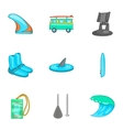 Swimming on surf icons set cartoon style vector image