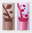 drink vertical banners with chocolate and fruits vector image