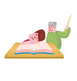 the pupil boy fell asleep on the book and the old vector image