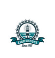 nautical badge with lighthouse on sea shore vector image vector image