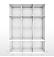 3d isolated empty white bookshelf vector image vector image