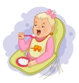 Baby girl eats pap sitting in the baby chair vector image