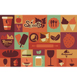Collection of flat vintage retro food icons flat vector image