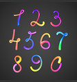 colorful numbers on darck vector image