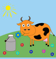 good cartoon cow grazing in a meadow vector image