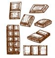 hand drawn chocolate bars vector image