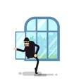 isolated thief climbs through the vector image
