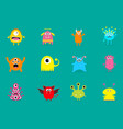monster big set cute cartoon scary character vector image