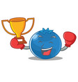 boxing winner blueberry character cartoon style vector image