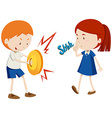 Boy playing music and girl unhappy vector image