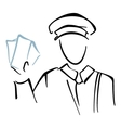 Postman on sketch vector image