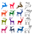 Colored black deer silhouettes set vector image