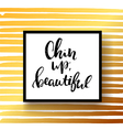 concept handwritten poster chin up beautiful vector image