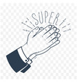 icon clapping hands black vector image