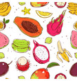 sketch colored exotic fruits seamless pattern vector image