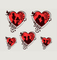 red heart with silhouettes of a boy and a girl set vector image