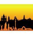 silhouette of Kiev on an orange background vector image
