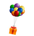 Bunch of balloons and gift vector image vector image