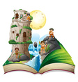 Magic book of cave people by the waterfall vector image