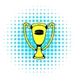 Gold shiny trophy cup award icon comics style vector image