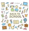 Back to school set of sign and symbol doodles vector image