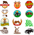 Set of farm fresh products labels emblems and vector image