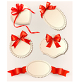 Set of beautiful tags with red gift bows with vector image vector image