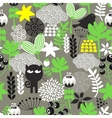 Spring time seamless pattern with cute hunter cat vector image