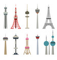 cartoon color high towers collection vector image