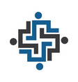 human cross medical and health logo design vector image