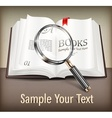 Open book and magnifying vector image