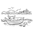 Sailing boat hand drawn vector image