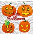 Set of spooky halloween jack o lanterns vector image