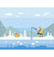 Winter Fishing vector image
