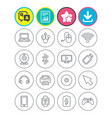computer elements icons notebook usb port vector image